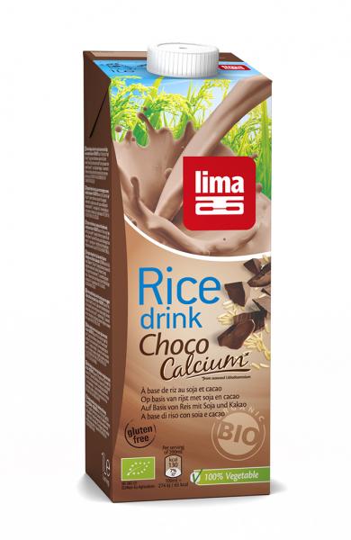 Bautura vegetala de orez cu ciocolata + soia cu calciu eco 1L Lima 0