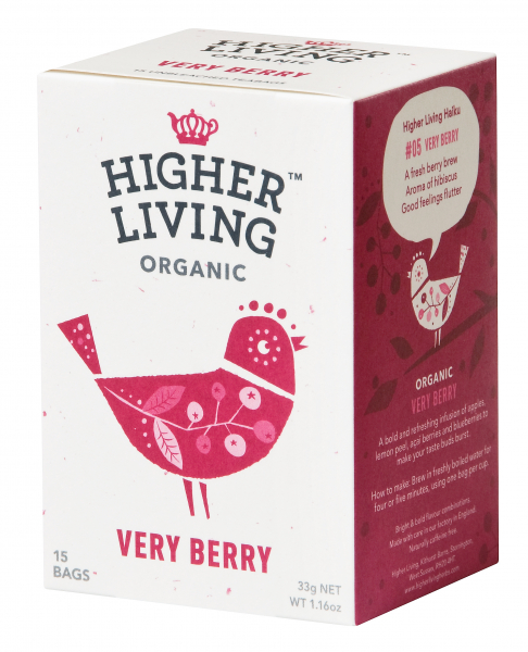 Ceai de fructe VERY BERRY eco, 15 plicuri, Higher Living 0