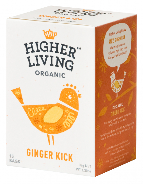 Ceai GINGER KICK eco, 15 plicuri, Higher Living 0