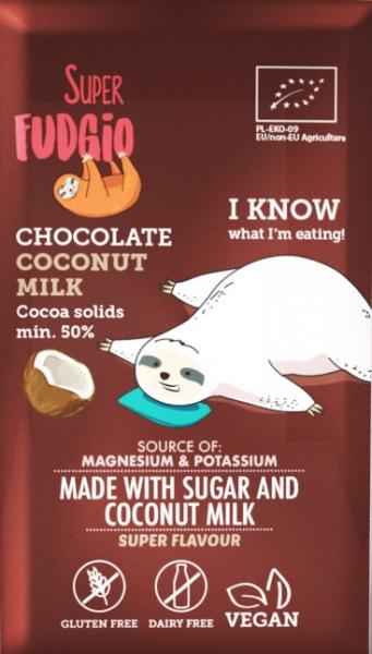 Ciocolata cu lapte de cocos bio 80g Super Fudgio 0