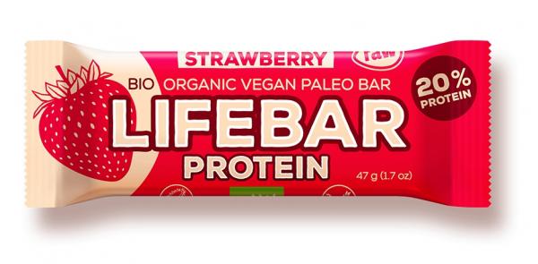 Lifebar baton proteic cu capsuni raw eco 47g 0
