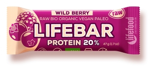 Lifebar baton proteic cu fructe de padure raw bio 47g 0