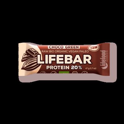 Lifebar plus baton cu ciocolata si proteine raw eco 47g 0