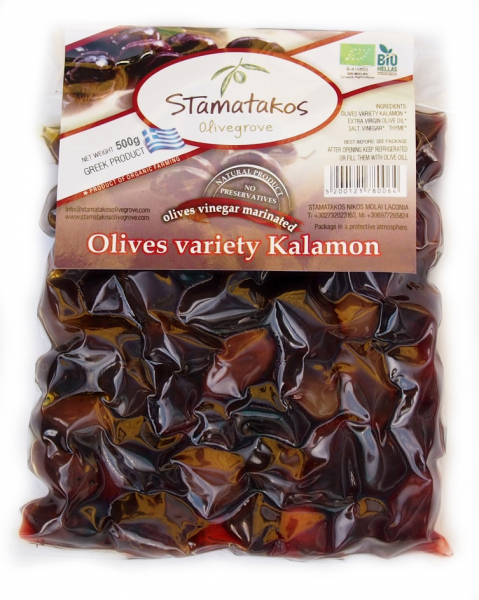 Masline Kalamata vidate marinate in otet bio 500g [0]