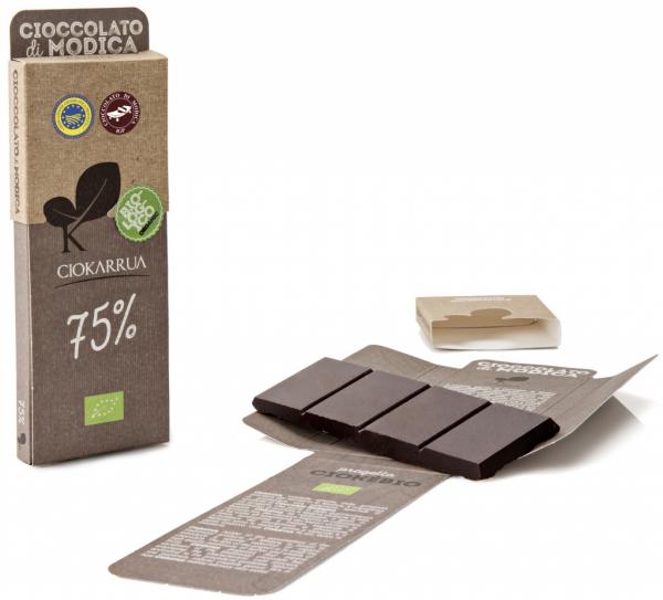 Ciocolata de Modica, Ciokarrua Bio, 75% cacao, 50g 0