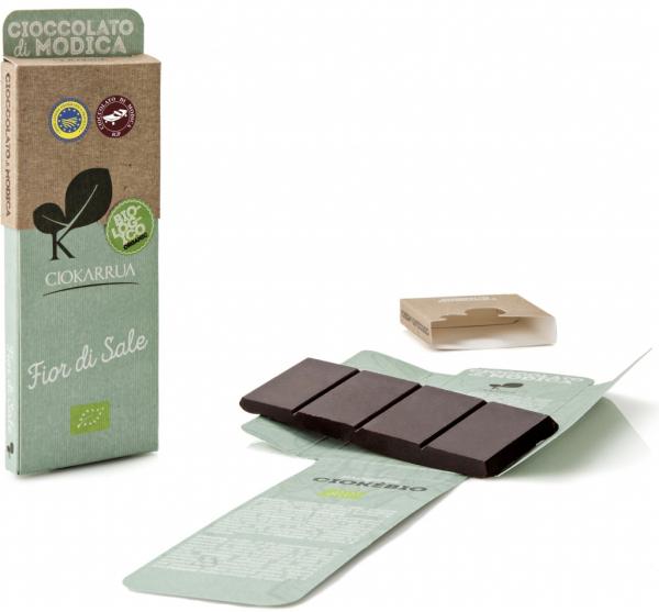 Ciocolata de Modica, Ciokarrua Bio, sare, 50% cacao, 50g 0