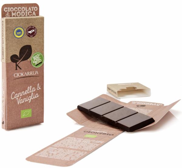Ciocolata de Modica, Ciokarrua Bio, scortisoara si vanilie, 50g 0