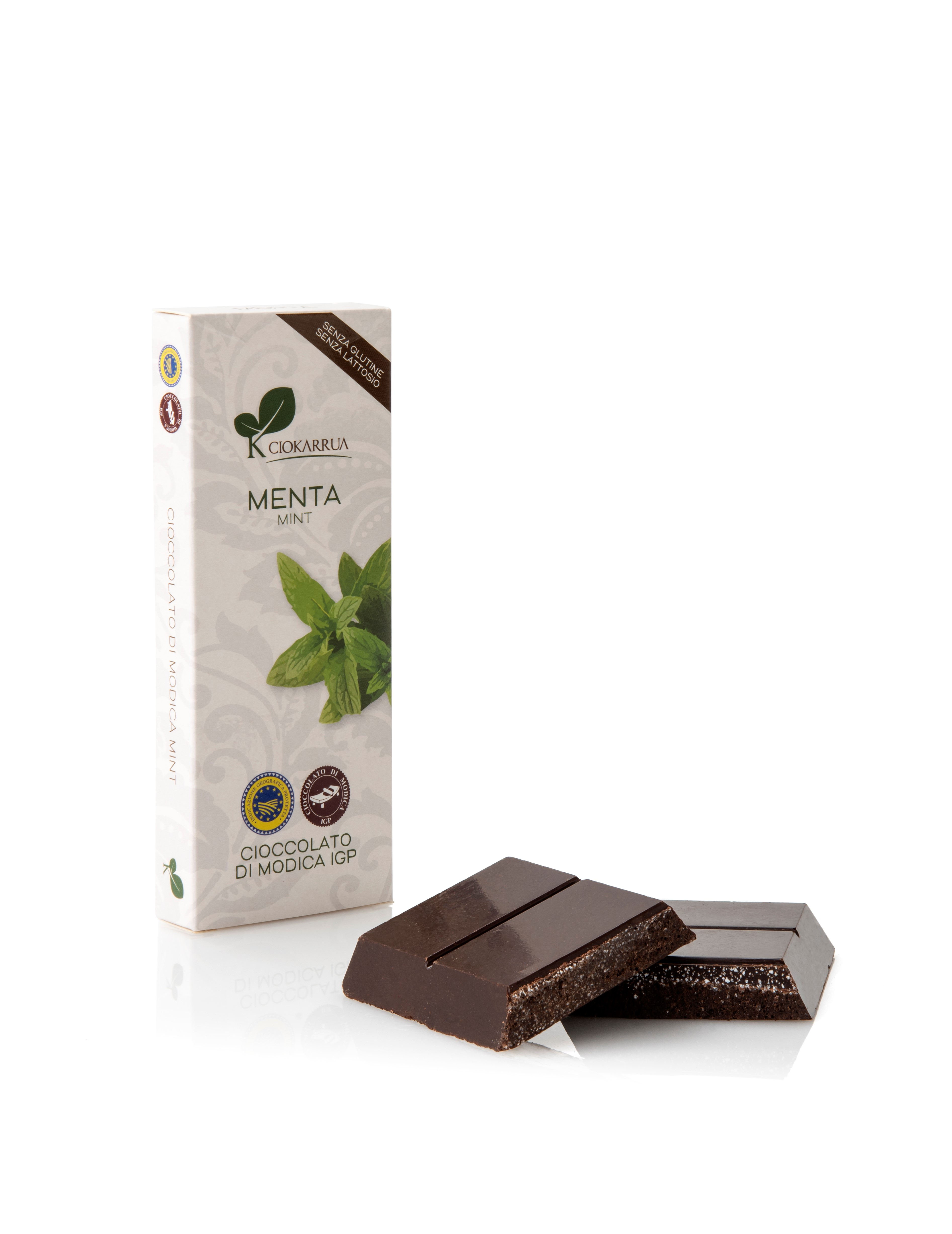 Ciocolata de Modica, Ciokarrua, aroma de menta, 50% cacao, 100 g 1