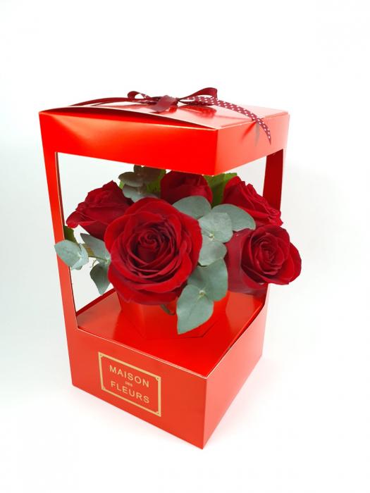 5 trandafiri in cutie 0