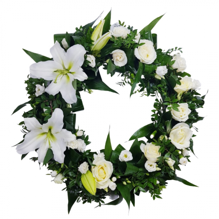 Coroana funerara mix flori albe [0]