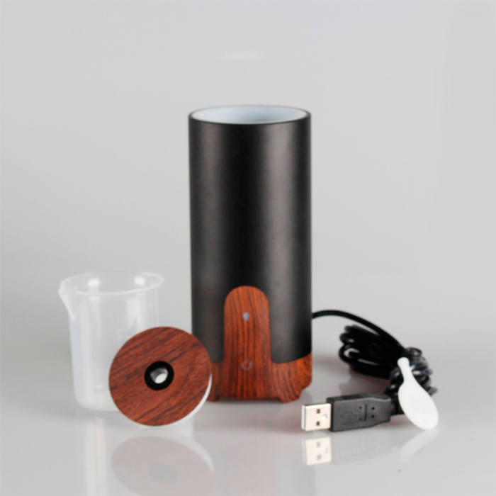 Difuzor aromaterapie MASINA / BIROU, Zenix, GX-B02, 50ml, 4 - 8 ore, ultrasonic - Stejar inchis + Negru 2