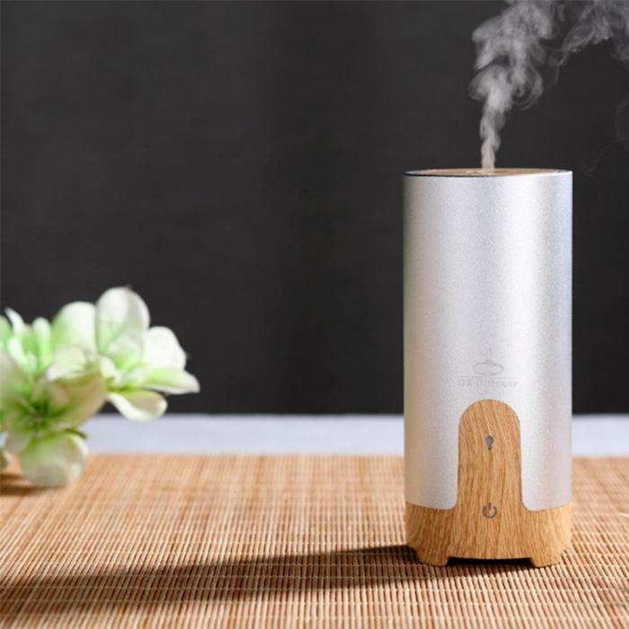 Difuzor aromaterapie MASINA / BIROU, Zenix, GX-B02, 50ml, 4 - 8 ore, ultrasonic - Stejar deschis + Argintiu