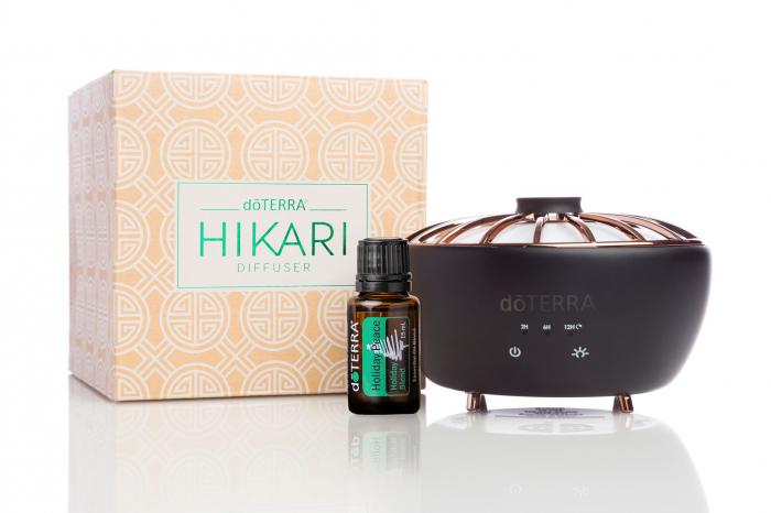Difuzor aromaterapie doTERRA Hikari™ și amestec Holiday Peace, 15ml 0