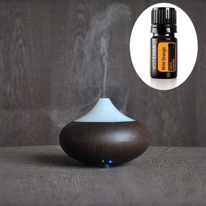 Difuzor aromaterapie, Zenix, GX-02K, ultrasonic, Stejar inchis + ulei doTERRA Wild Orange 5ml 0
