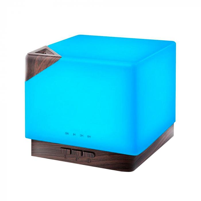 Difuzor aromaterapie, Zenix - Helios, 600ml, 20+ ore, ultrasonic, Stejar inchis + Alb 0