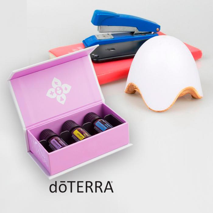Kit aromaterapie: Zenix, GX-L07, stejar deschis + Set doTERRA, 3x5ml, Lavanda, Lamaie, Menta 0