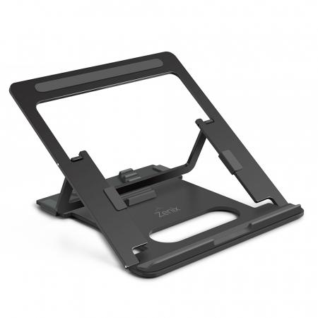 Suport Laptop, Zenix, SL-3, pliabil, aluminiu, gri inchis, pana la 15 inch0