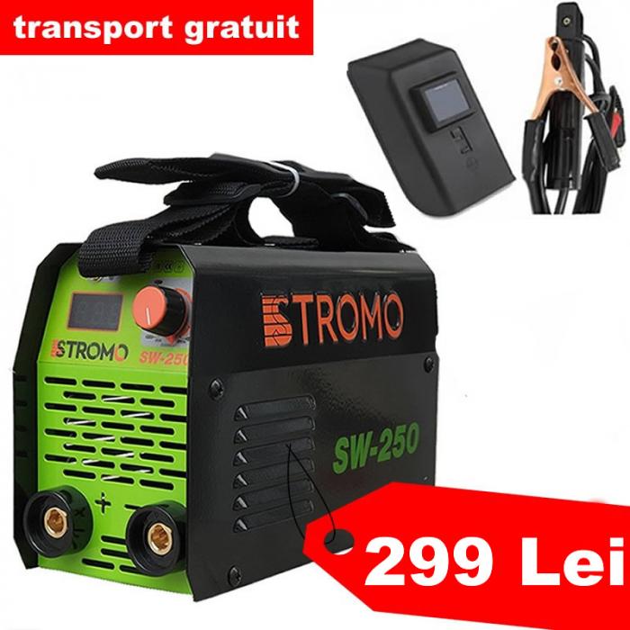 Aparat de sudura invertor STROMO SW 250 , 250 A, accesorii incluse, electrod 1.6-4mm 0
