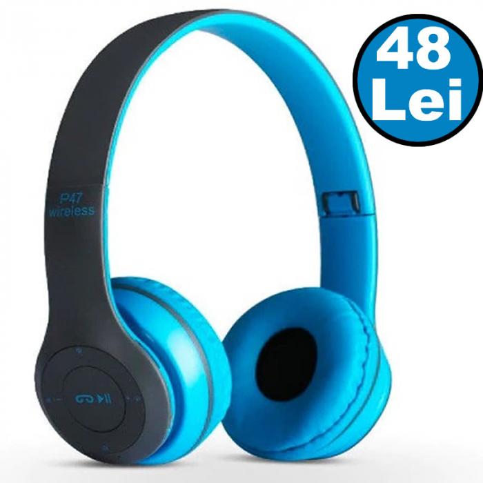 Casti audio P 47 cu Bluetooth version 4.1, Card SD microfon,Radio, Auxiliar albastru 0