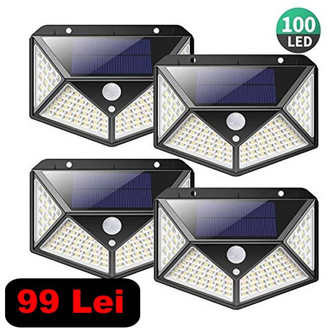 Set 4 lampi cu incarcare solara + senzor miscare 0