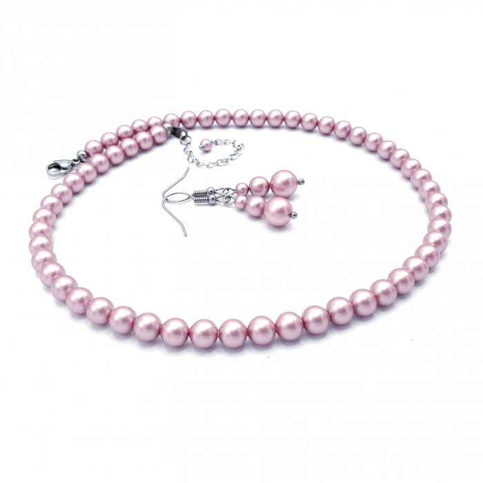 set-colier-cercei-perle-swarovski-roz-pudra 1