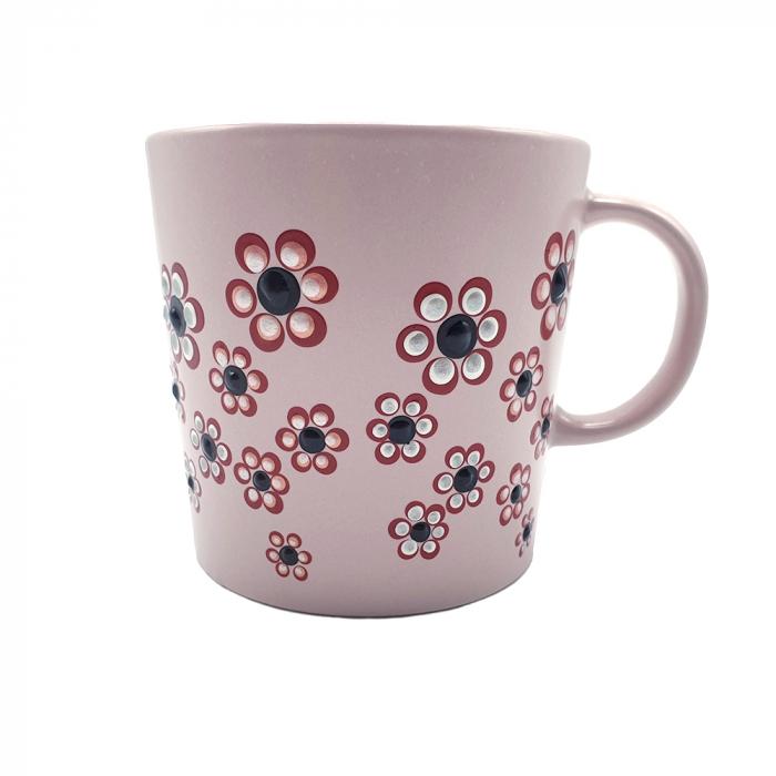 ROSANA | Cana roz pentru cafea/ ceai, pictata manual cu flori 2