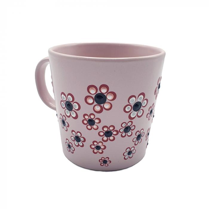 ROSANA | Cana roz pentru cafea/ ceai, pictata manual cu flori 0
