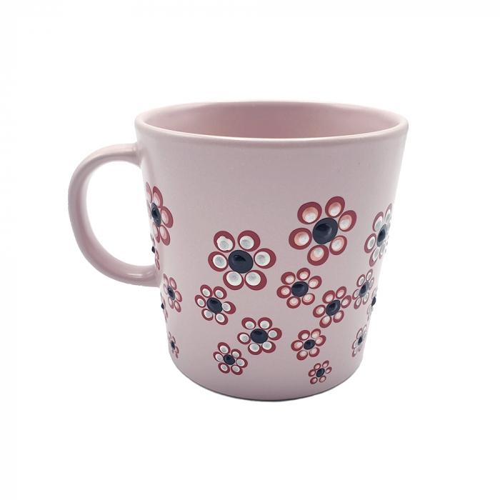 ROSANA | Cana roz pentru cafea/ ceai, pictata manual cu flori 1