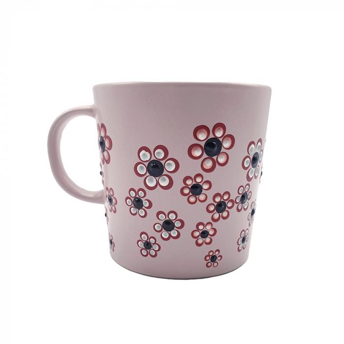 ROSANA | Cana roz pentru cafea/ ceai, pictata manual cu flori 4