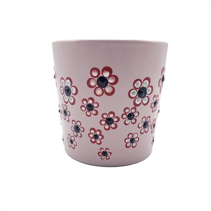 ROSANA | Cana roz pentru cafea/ ceai, pictata manual cu flori 3