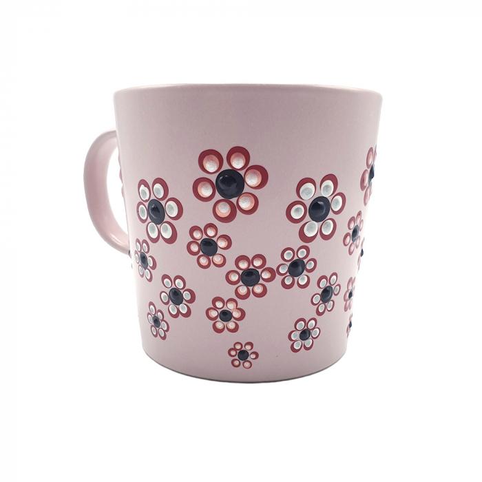 ROSANA | Cana roz pentru cafea/ ceai, pictata manual cu flori 5