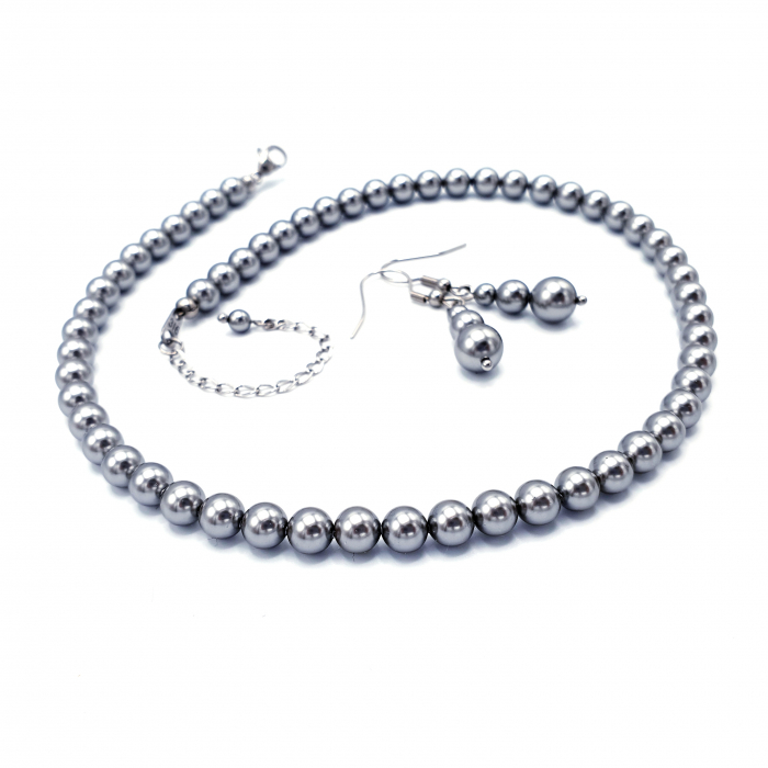set-colier-cercei-perle-mallorca-argintiu 1