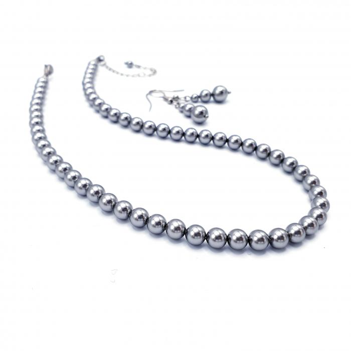 set-colier-cercei-perle-mallorca-argintiu 0