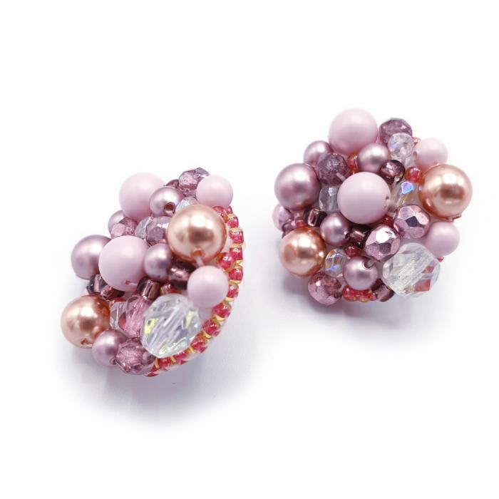 cercei-handmade-margele-roz 3