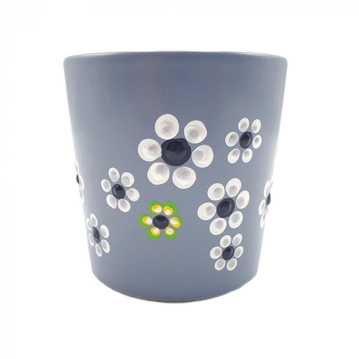 MABEL | Cana gri pentru cafea/ ceai, pictata manual cu flori 3