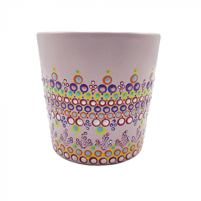 ELORA | Cana roz pentru cafea/ ceai, pictata manual, multicolor 2