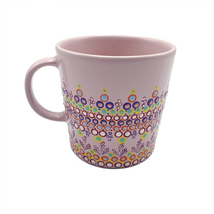 ELORA | Cana roz pentru cafea/ ceai, pictata manual, multicolor 4