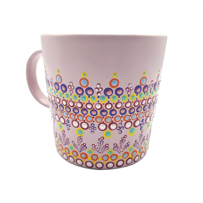 ELORA | Cana roz pentru cafea/ ceai, pictata manual, multicolor 1
