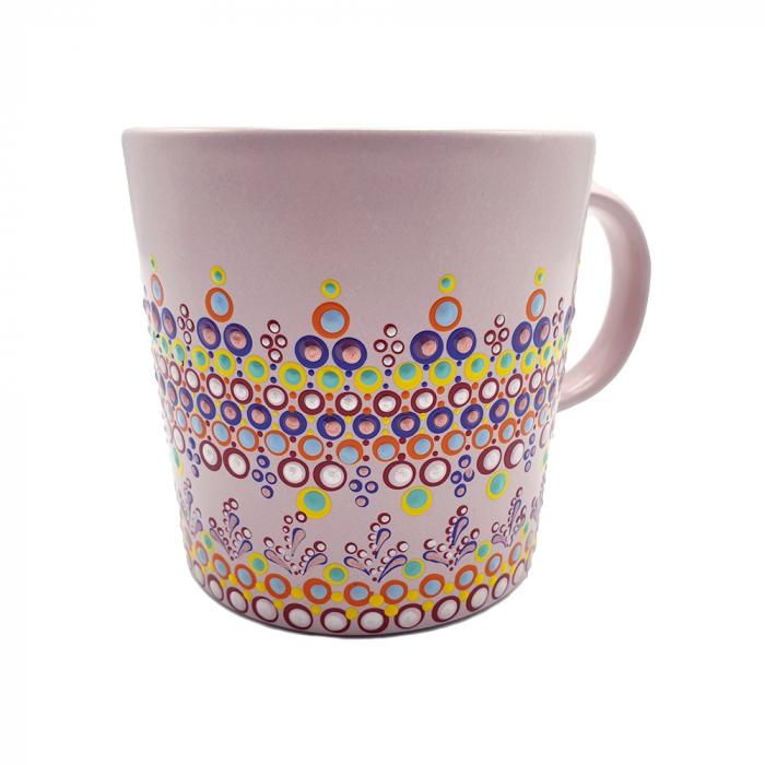 ELORA | Cana roz pentru cafea/ ceai, pictata manual, multicolor 5