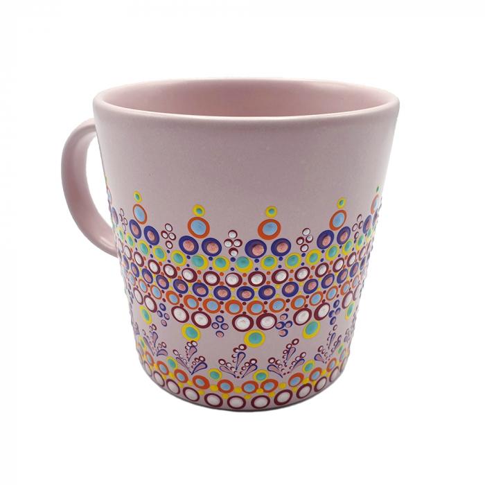 ELORA | Cana roz pentru cafea/ ceai, pictata manual, multicolor 3