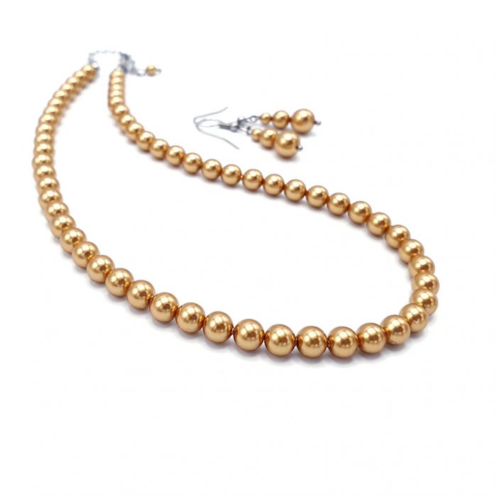 Set-colier-cercei-perle-Swarovski-auriu 0