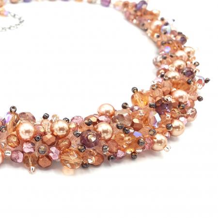 FEELING | Set colier și cercei, roz pudra, elemente Swarovski1