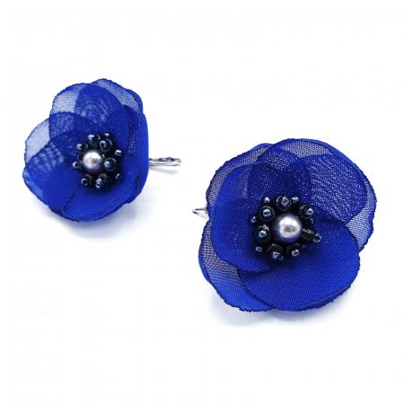 CINDY | Cercei eleganti albastri design floral3