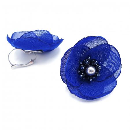 CINDY | Cercei eleganti albastri design floral2