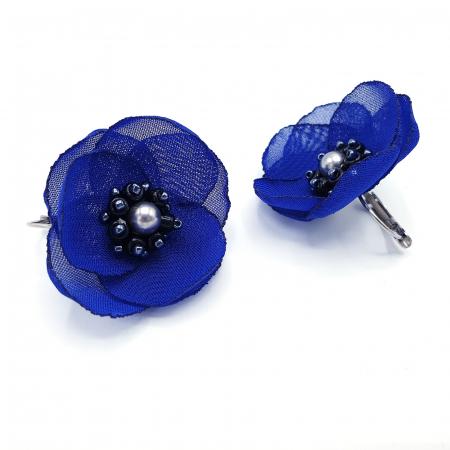 CINDY | Cercei eleganti albastri design floral0