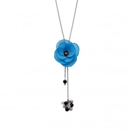 AZUR | Colier lung pandantiv floare albastra0