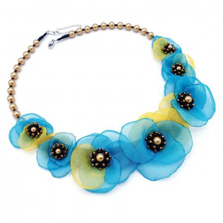 VENUS | Colier statement cu flori din voal stil matase0