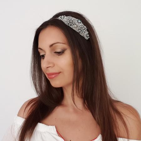 ICE LADY | Bentita par argintie cu perle1