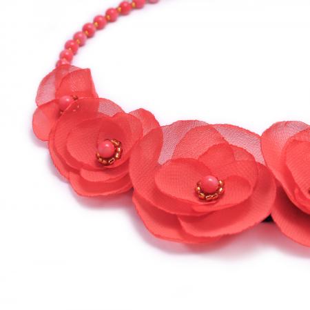 CORALIA | Colier statement elegant, flori corai1