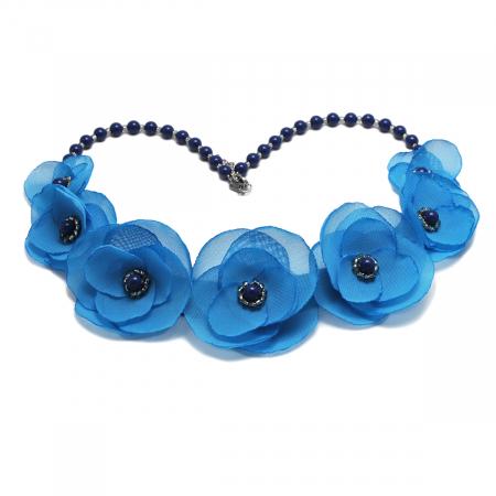 BLUE SKY | Colier statement elegant, flori albastru azur0